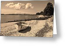 Nostalgia Boat On Beach Greeting Card