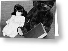 Nostalgic Doll And Bear With Reading Book Greeting Card