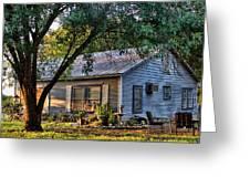 Nostalgic Old Cottage In Evening Light Greeting Card