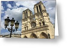 Notre Dame And Lamppost Greeting Card