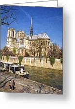 Notre Dame And The Seine Painterly Greeting Card