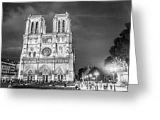 Notre Dame B/w Greeting Card