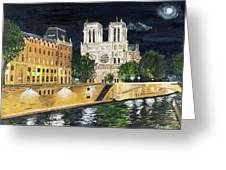 Notre Dame Greeting Card by Bruce Schmalfuss