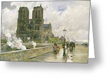 Notre Dame Cathedral - Paris Greeting Card by Childe Hassam