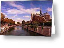 Notre Dame Cathedral And The River Seine - Paris Greeting Card