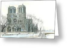 Notre Dame Cathedral In March Greeting Card by Dominic White
