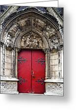Notre Dame Cathedral Side Door Architecture In Paris Greeting Card