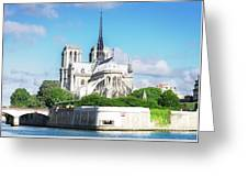 Notre Dame Over Water Greeting Card
