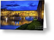 Notte A Ponte Vecchio Greeting Card