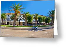 Novalja On Pag Island Palm Waterfront View Greeting Card