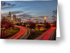 November Sun Setting Over Charlotte North Carolina Skyline Greeting Card