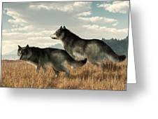 November Wolves Greeting Card