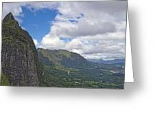 Nu Uanu Pali Valley Overlook On Oahu Island Hawaii  Greeting Card