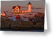 Nubble Light At Sunset Greeting Card by Paul Mangold