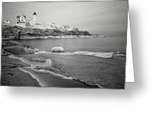 Nubble Light Black And White Greeting Card
