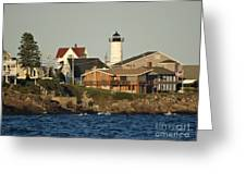 Nubble Light House Beach View Greeting Card