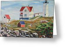Nubble Light House Maine Greeting Card