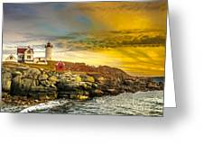 Nubble Lighthouse At Sunset Greeting Card