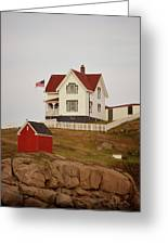 Nubble Lighthouse Shed And House Greeting Card