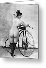 Nude And Bicycle, C1885 Greeting Card