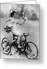 Nude And Bicycle, C1900 Greeting Card