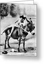 Nude And Donkey, C1900 Greeting Card