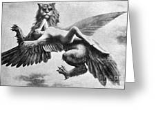 Nude And Griffin, 1890s Greeting Card