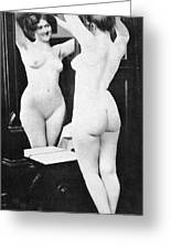 Nude And Mirror, 1902 Greeting Card