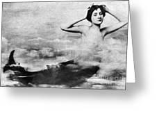 Nude As Mermaid, 1890s Greeting Card