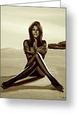 Nude Beach Beauty Sepia Greeting Card