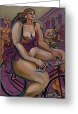 Nude Cyclists With Carracchi Bacchus Greeting Card