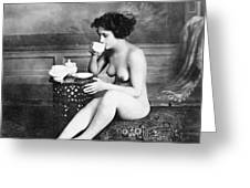 Nude Drinking Tea, 19th Ct Greeting Card