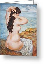 Nude Fixing Her Hair My Reproduction Of Renoirs Work Greeting Card
