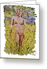 Nude In Field Greeting Card