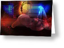 Nude In Glitchscape Greeting Card