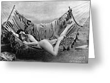 Nude In Hammock, C1885 Greeting Card