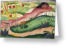 Nude Lying In The Flowers 1910 Greeting Card