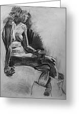 Nude Portrait With Coffee Greeting Card