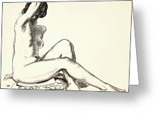 Nude Study, Girl Sitting On A Flowered Cushion Greeting Card