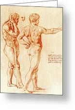 Nude Study Of Two Warriors Greeting Card
