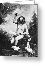 Nude With Birds, 1897 Greeting Card