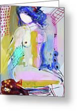 Nude With Yellow Stripe Greeting Card