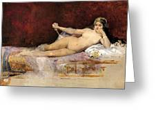 Nude Woman On An Ottoman Greeting Card