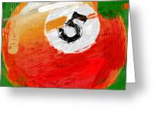 Number Five Billiards Ball Abstract Greeting Card