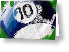 Number Ten Billiards Ball Abstract Greeting Card
