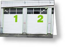 Numbers On Repair Shop Bay Doors Greeting Card