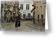 Nun On A Bicycle In Bruges Greeting Card