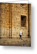 Nun Walking In Front Of Cathedral Greeting Card