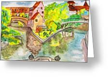 Nuremberg, Hand Drawn Picture Greeting Card