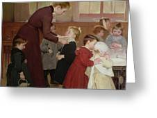 Nursery School Greeting Card by Hneri Jules Jean Geoffroy